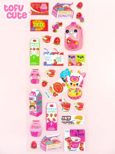Buy Large Pink Strawberry Milk Korean Stickers at Tofu Cute