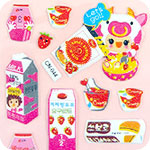 Large Pink Strawberry Milk Korean Stickers