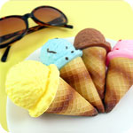 Cute Realistic Ice Cream Cone Keychain
