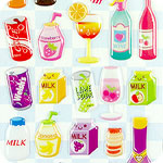 Kawaii Sponge Stickers - Drinks