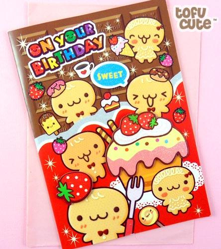 Buy Kawaii Chocolate Gingerbread 3D Birthday Card at Tofu Cute – Chocolate Birthday Cards