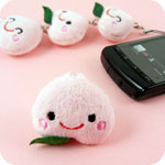 Kawaii Linking Peach Plush Phone Charm