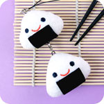 Kawaii Linking Onigiri Plush Phone Charm