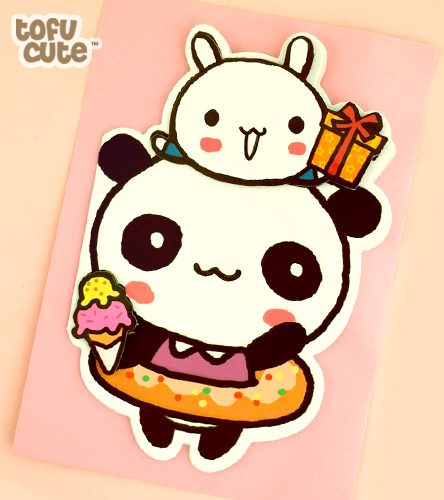 Kawaii Die-Cut 3D Card - Doughnut Panda
