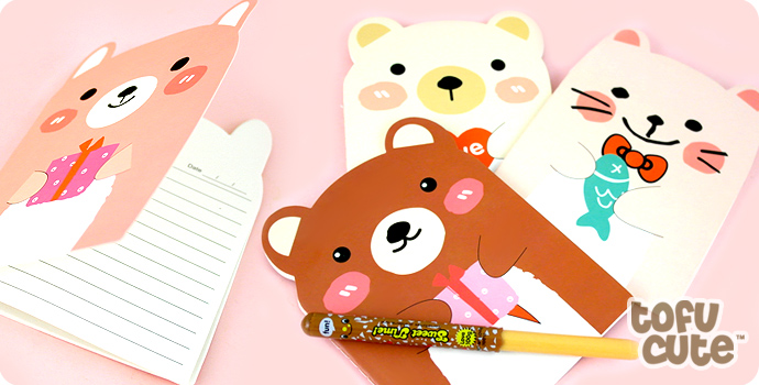 Kawaii Animal Die-Cut Lined Notepad