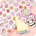 Tofu Cute Gift Wrap - Happy Pink Things