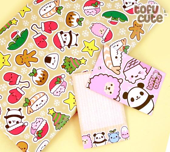 buy tofu cute gift wrap set kawaii christmas characters at tofu cute