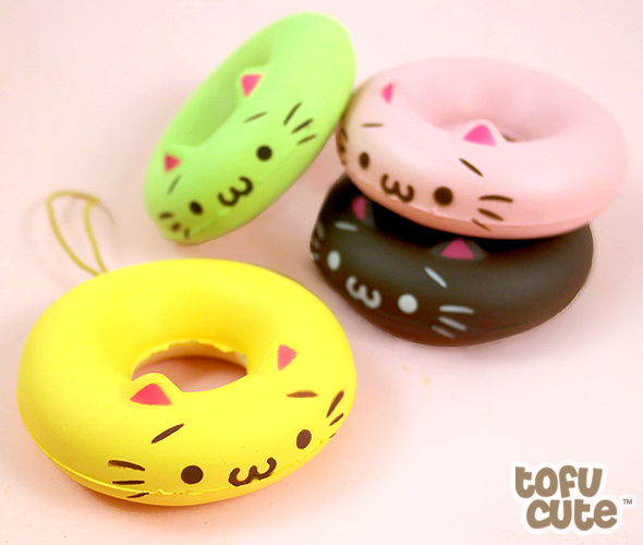 buy kawaii squishy cat doughnut phone charm at tofu cute