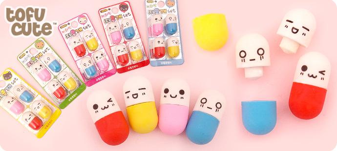 Diy Pill Squishy : Buy Set of 4 Kawaii Mini Happy Pill Erasers at Tofu Cute