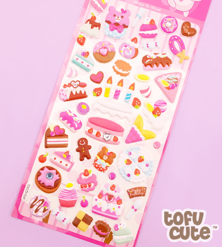Buy Kawaii Jewelled Food Sponge Stickers Birthday Cake at Tofu Cute