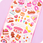 Kawaii Glitter Jewel Stickers - Birthday Cake