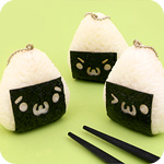 Kawaii Onigiri Emoticon Rubber Keychain