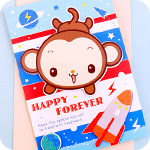Monkey in Space 3D Greeting Card