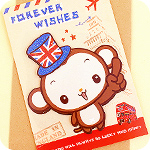 British Monkey Travel 3D Greeting Card