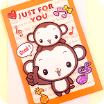 Musical Note Monkeys 3D Greeting Card