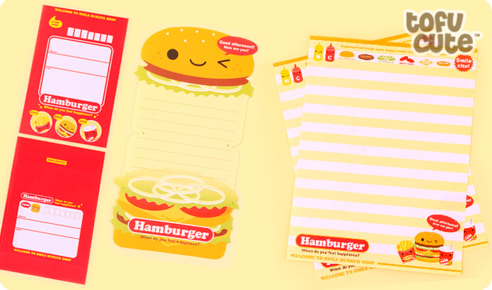 kawaii die cut letter set hamburger