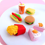 Set of 7 Kawaii Fast Food Erasers