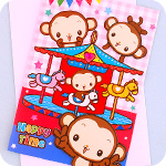 Happy Monkey Carousel 3D Greeting Card