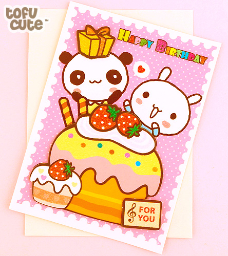 Buy Kawaii Panda Bunny Cupcake 3d Birthday Card At Tofu Cute