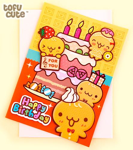 Superb Buy Kawaii Gingerbread Birthday Cake 3D Birthday Card At Tofu Cute Funny Birthday Cards Online Hetedamsfinfo