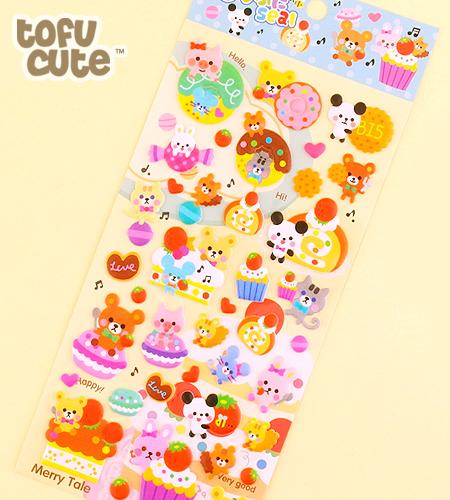 Buy kawaii sponge stickers musical animal desserts at tofu cute