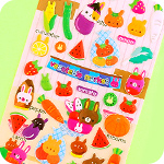 Kawaii Words Stickers - Bunny Veggie Market