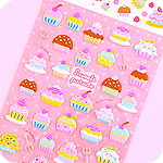 Kawaii Sponge Stickers - Cupcakes Parade