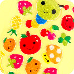 Kawaii Fruity Caterpillar Glitter Stickers