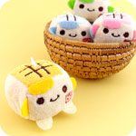 Kawaii Tofu Cube Plush Phone Charm