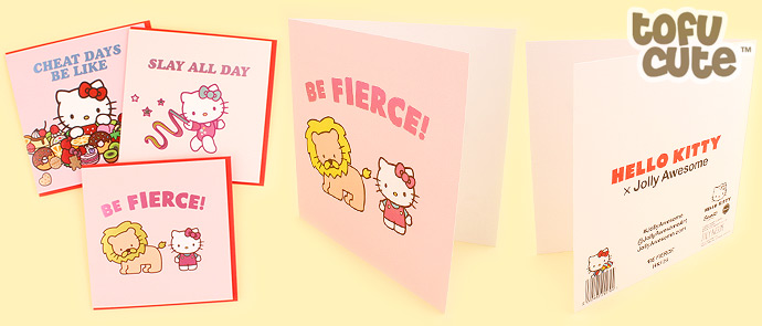 Buy jolly awesome x sanrio hello kitty foil greeting card be tags sanrio jolly awesome greeting card metallic shiny holographic foil fun kawaii hello kitty be fierce lion m4hsunfo