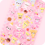 Kawaii Sponge Stickers - Pastel Precious Bear