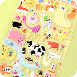 Kawaii Sponge Stickers - Silly Field Animals