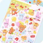 Kawaii Sponge Stickers - Bears Balloon Tree