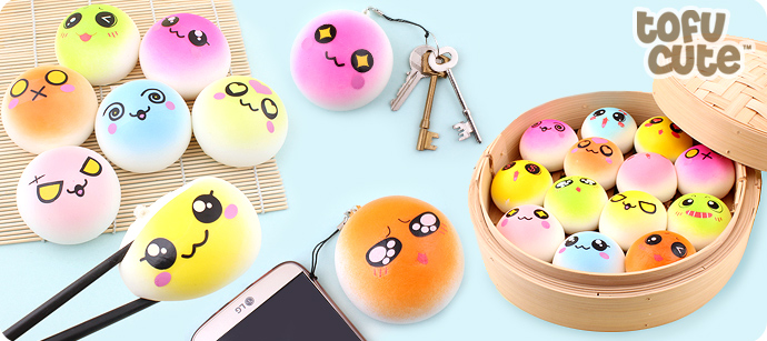 Buy Kawaii Squishy Colourful Emoji Round Bun Charm at Tofu Cute