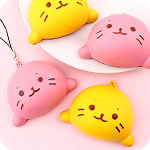 Kawaii Squishy Seal Bread Keychain