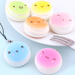Squishy Colourful Macaron with Face Charm