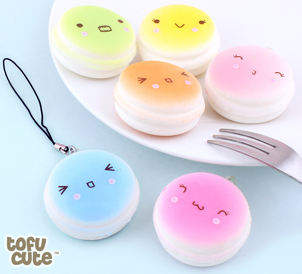 Buy Squishy Colourful Emotion Macaron With Faces Charms At