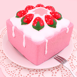 Squishy Jumbo Slow Rise Square Strawberry Cake