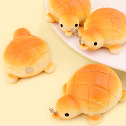 Mini Turtle Melon Pan Squeeze Keychain