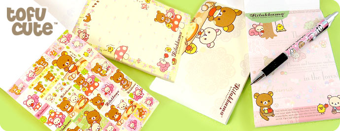 Rilakkuma Memo Pad & Stickers - Eating