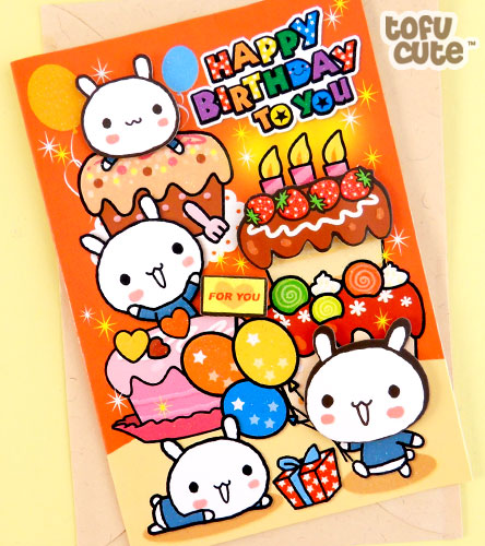 Kawaii birthday card, blank inside for your own message