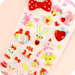 Bow & Jewel Stickers - Pink Bunny