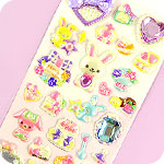 Bow & Jewel Stickers - Purple Bunny