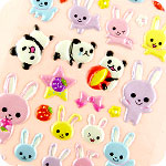 Kawaii Panda & Bunny Sponge Stickers
