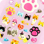 Kawaii Neko Kitty & Paw Sponge Stickers