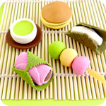 Set of 5 Traditional Japanese Food Erasers