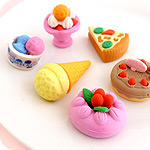 Set of 6 Kawaii Dessert Treat Erasers
