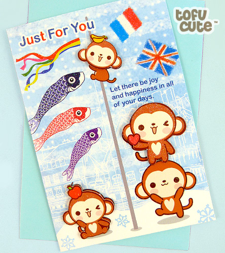 Kawaii greeting card, blank inside for your own message