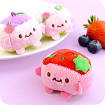 Kawaii Berry Tofu Cube Plush Keychain