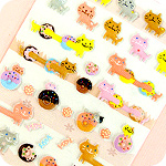 Lucky Animal Sponge Stickers - Cats